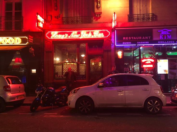 The facade of Harry's New York Bar, located near the Paris Opera House.