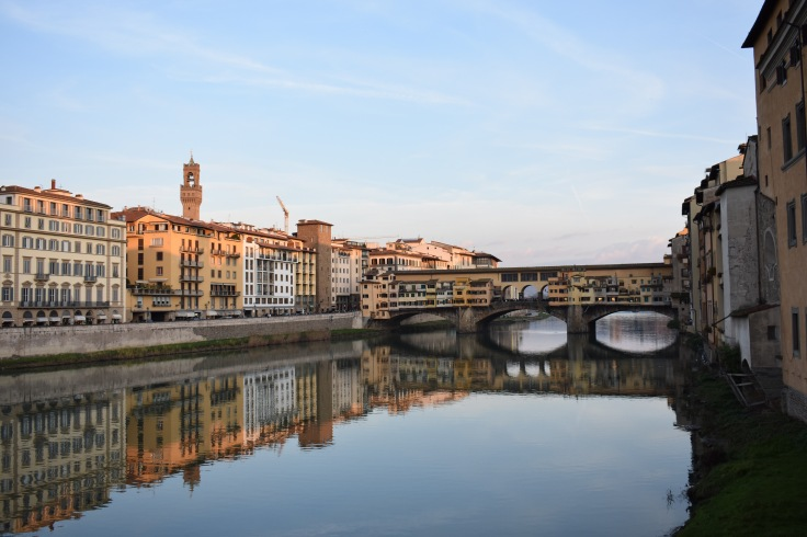View of the Ponte Vecchio and the Arno River in Florence, Italy.