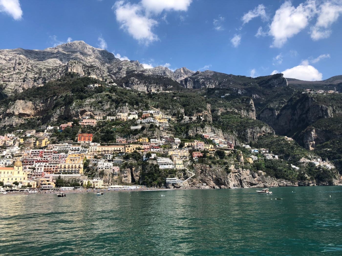 View of Positano, Italy from boat