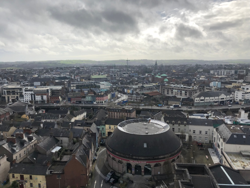 The view from the Shandon Bell Tower, with the Firkin Crane at the center!  Bottom right: Butter Exchange; above that: the Butter Museum.