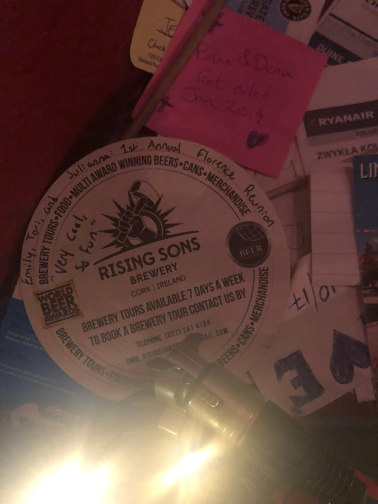 "Poor quality photo; high quality memories. ""Very cool, so fun."" Our coaster, stuck up on the wall!"